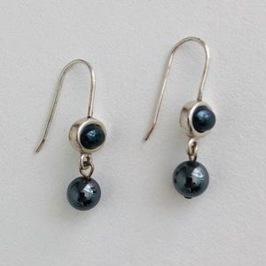 Silver and faux black pearl drop earrings